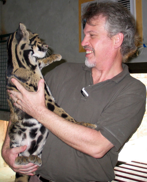 Michael Graetz with clouded leopard